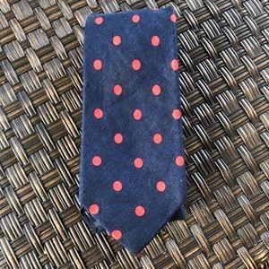 Lands' End Blue & Red Polka Dot 100% Linen Necktie